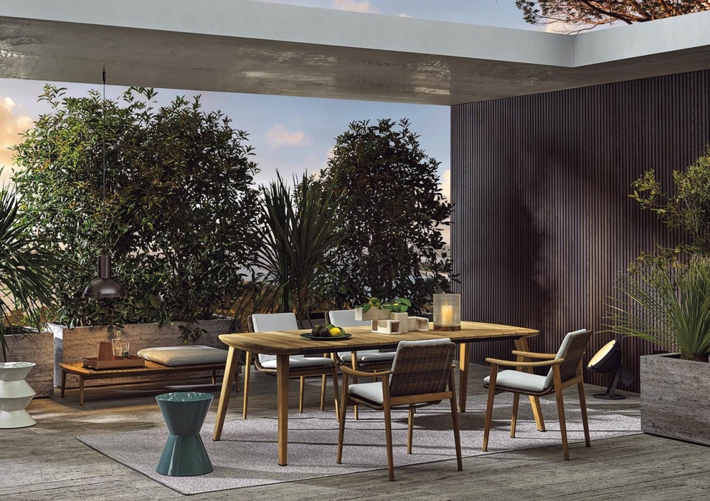 FYNN  OUTDOOR  COLLECTION BY CAMFRATESI DESIGN 2020. IF MINOTTI'S APTLY NAMED, NEW OUTDOOR-FURNITURE FAMILY IS SUGGESTIVE OF SCANDINAVIA, THIS IS NO COINCIDENCE. THE NEW FYNN OUTDOOR COLLECTION – COMPRISING ARMCHAIRS, DINING AND LOUNGE CHAIRS, STOOLS, FOOTRESTS, BENCHES AND TABLES  – COMES FROM THE COPENHAGEN STUDIO OF GAMFRATESI, AND SEEKS TO BLEND SCANDINAVIAN AND ITALIAN VALUES AND TRADITIONS.