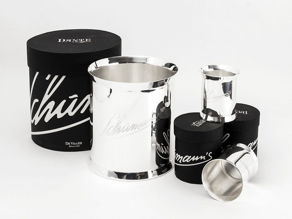 STAINLESS STEEL AND SILVER PLATED CHAMPAGNE BUCKET AND TUMBLER - DESIGNED BY CHARLES SCHUMANN