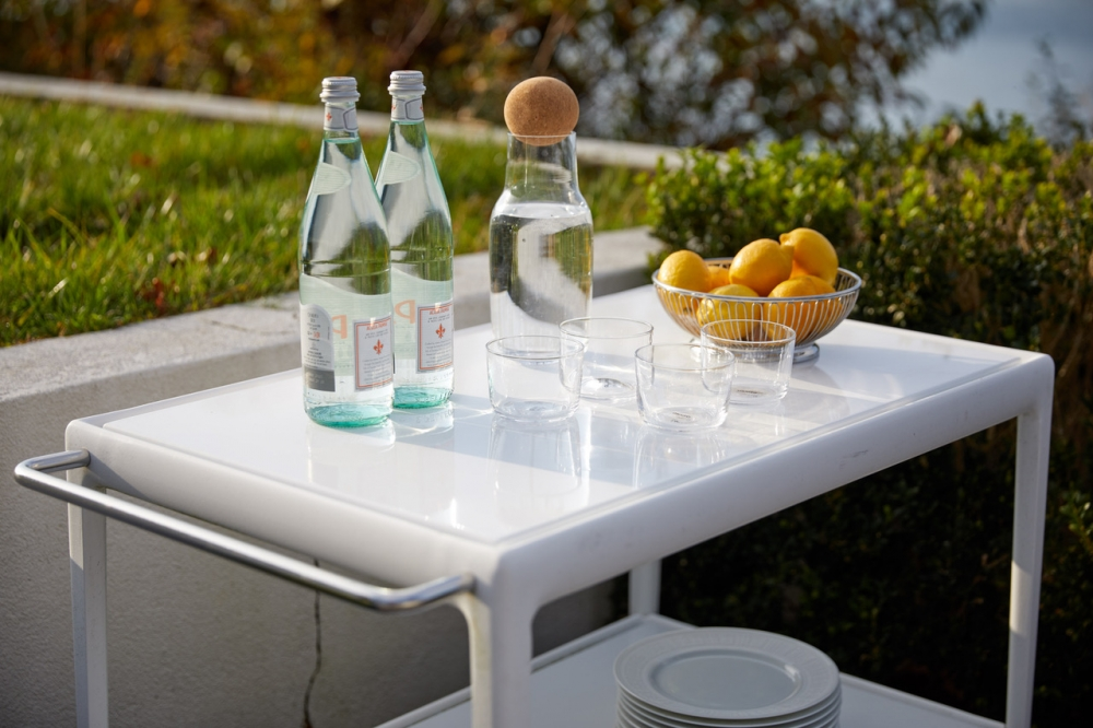 Outdoor serving cart 1966. RICHARD SCHULTZ's iconic serving cart has been catering al fresco lunches and providing poolside drinks for over 50 years. And it's never looked fresher.