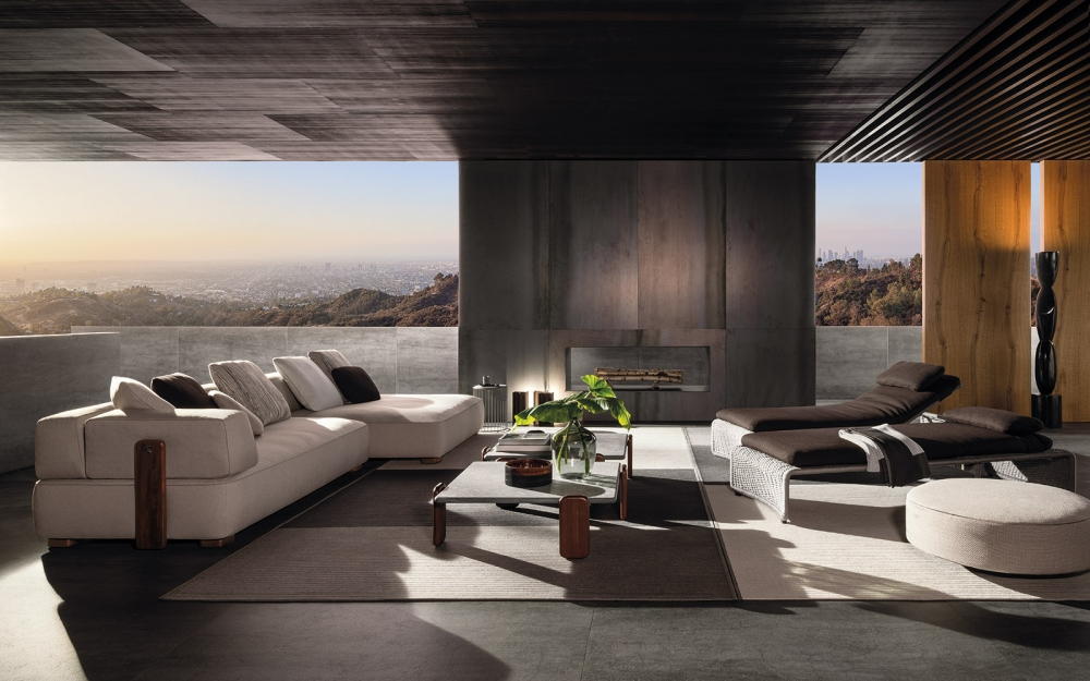 Sofa, ottoman and coffee tables FLORIDA, daybeds with reclining back HALLEY - designer RODOLFO DORDONI