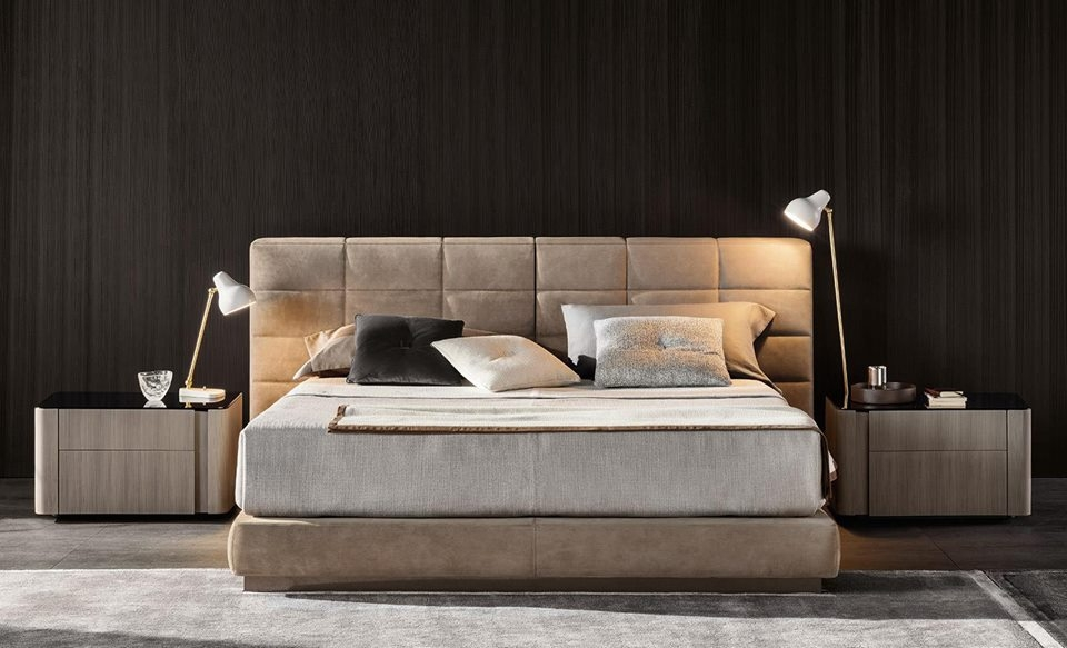 THE LAWRENCE BED PUTS A CONTEMPORARY SPIN ON THE CLASSIC UPHOLSTERED BED; BRINGING BACK BALANCED PROPORTIONS AND ADDING THE KIND OF CONSTRACTIVE DETAILS THAT SPEAK VOLUMES ABOUT MINOTTI'S ABILITY TO DESIGN AND MASTERFUL CRAFTMANSHIP. THE PADDED HEADBOARD IS DIVIDED INTO TWO SEPARETE ELEMENTS THAT COME IN TWO DIFFERENT HEIGHTS AND THREE WIDTHS; OPENING THE DOOR TO CREATIVE FREEDOM IN DESIGNING SYMMETRICAL AND ASYMMETRICAL CONFIGURATIONS AND MAKING BOLD CHOICES IN UPHOLSTERY COMBINATIONS - DESIGNE