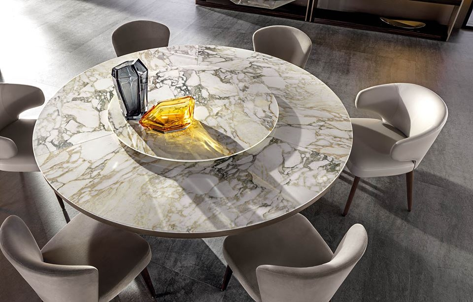 MORGAN MARBEL TABLE HAS EXTRAORDINARY ELEGANCE: WITH ITS CONTEMPORARY VIBE AND ENHANCED WITH ELOQUENTLY LUXURIOUS MATERIALS, LIKE FINE MARBLE, IT FITS CONFIDENTLY IN SOPHISTICATEDLY STYLISH SETTINGS - DESIGNER RODOLFO DORDONI