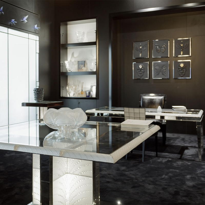 COUTARD TABLE BY PIERRE-YVES ROCHON, RECTANGULAR TABLE, CLEAR CRYSTAL.
