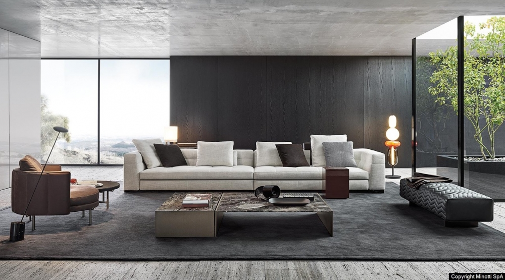 BLAZER sofa by RODOLFO DORDONI, designed in 2020. Virtuous combination of its design appeal, visible in the rigorous geometry of its volumes, and the haute couture approach exemplified by its precise, meticulous sartorial craftsmanship, blazer is one of the creations that best expresses the most authentic artisanal attitude of MINOTTI.