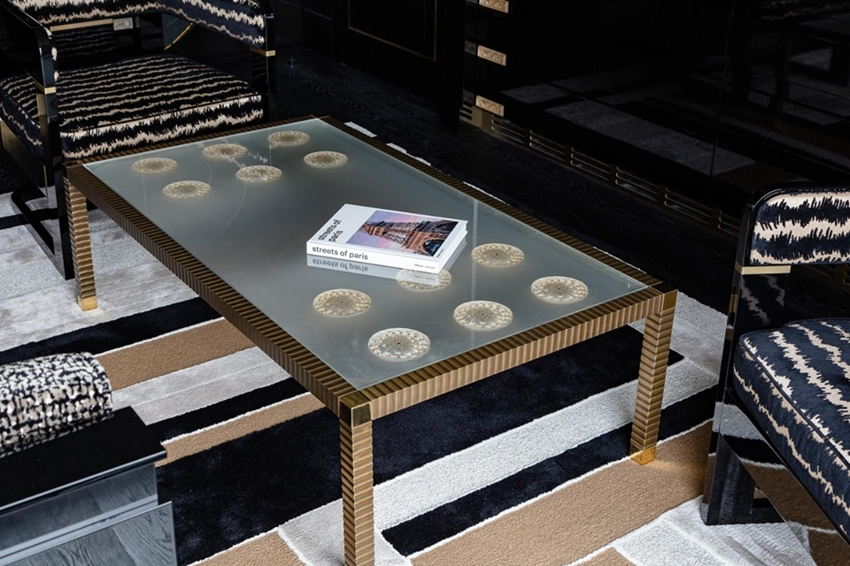 COFFEE TABLE exclusively made for LALIQUE SUITE by PATRICK HELLMANN at PRINCE DE GALLES HOTEL, PARIS
