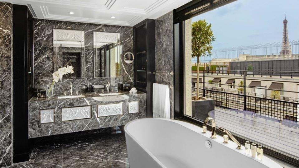 LALIQUE SUITE'S BATHROOM by PATRICK HELLMANN at PRINCE DE GALLES HOTEL, PARIS