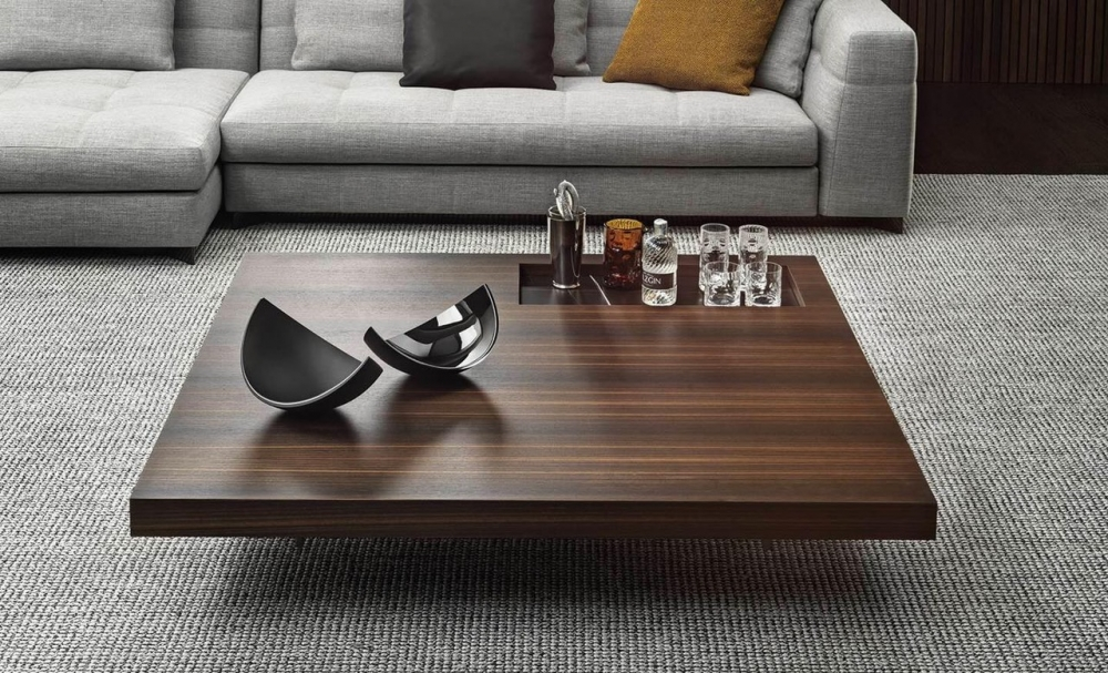BOTECO coffee table by MARCIO KOGAN (studio mk27), designed in 2020. The clever juxtaposition of different materials and their combination, creating an elegantly harmonious look, are the result of the research done by the Brazilian design studio, supported by MinottiI's know-how to manage joint projects.