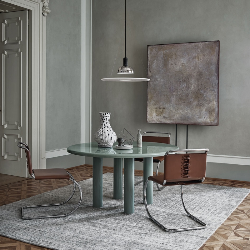 MALTO TABLE BY EDWARD BARBER AND JAY OSGERBY , 2019  ;  MR SIDE CHAIRS BY LUDWIG MIES VAN DER ROHE, 1927