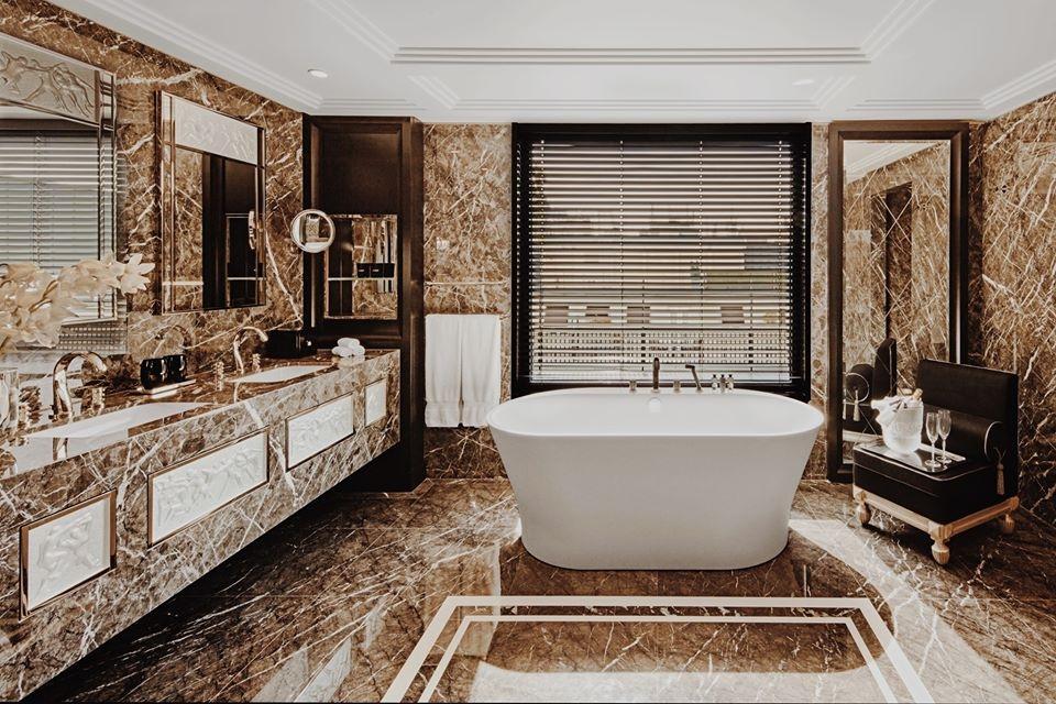 LALIQUE SUITE'S BATHROOM  by PATRICK HELLMANN at PRINCE DE GALLES, PARIS