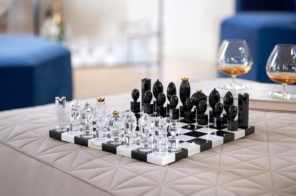 Take the time for the game of kings. CHESS GAME designed by MARCEL WANDERS STUDIO for Baccarat, the king of games and the game of kings is transformed into a genuine collector's item. Pawns in crystal and chessboard in inlaid marble.