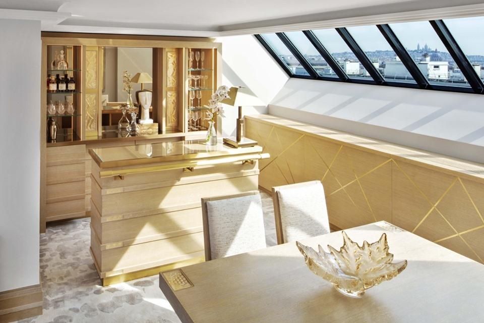 LALIQUE SUITE'S DINING AREA by PATRICK HELLMANN at PRINCE DE CALLES HOTEL, PARIS
