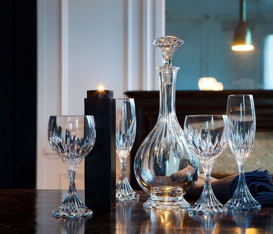 Crystal decanter, wine and champagne glasses MASSÈNA
