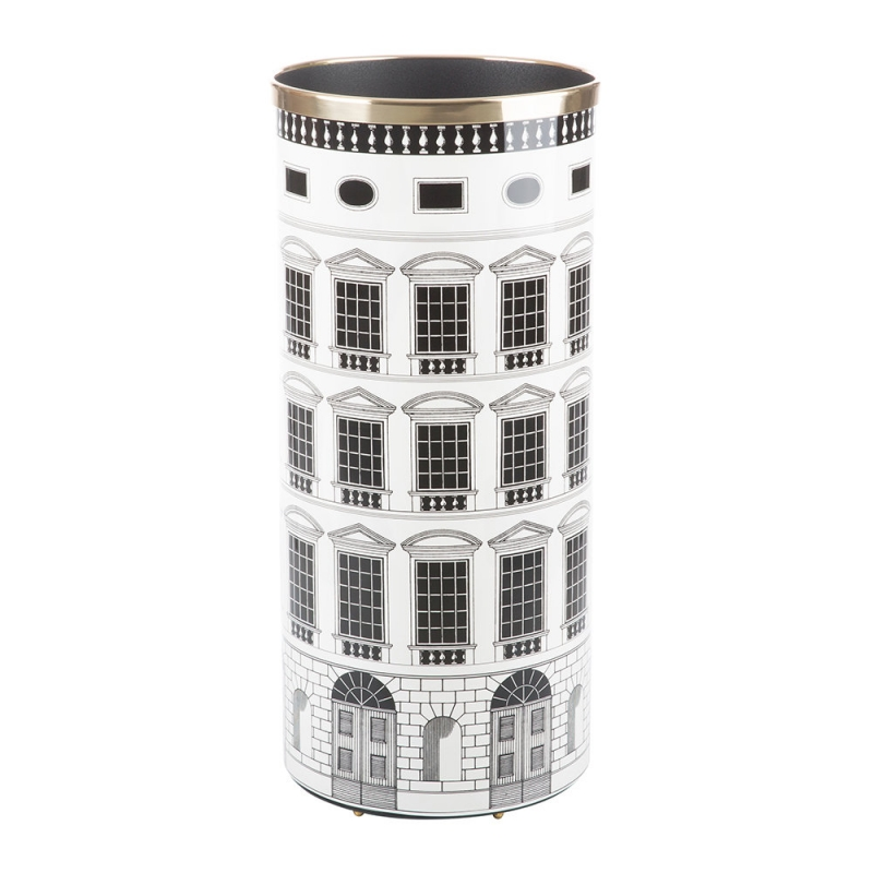 UMBRELLA STAND ARCHITETTURA. WHEREVER YOU MAY FIND SHELTER AFTER A WALK UNDER THE RAIN, MAKE SURE YOUR UMBRELLA STANDS IN FORNASETTI UMBRELLA STAND. ITS EXCEPTIONALLY CRAFTED SHAPE AND CAREFULLY SELECTED DESIGNS WILL TURN A RAINY DAY INTO A PRECIOUS ARTISTIC EXPERIENCE. DETAILS- COLOUR: BLACK AND WHITE, HEIGHT: 57CM, DIAMETER; 26CM