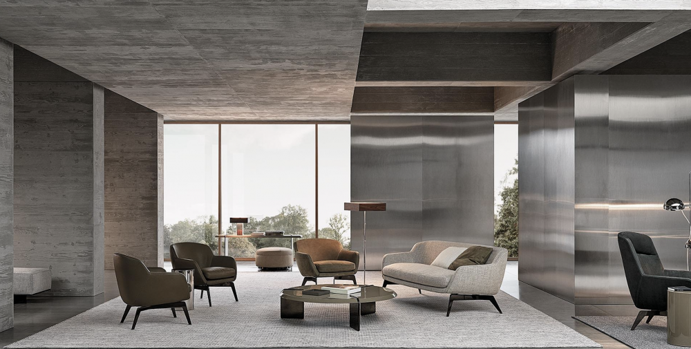 BELT  sofa by RODOLFO DORDONI. The distinctive characteristic and inspiration behind the Belt family is the idea of a belt that draws the profile of the body.