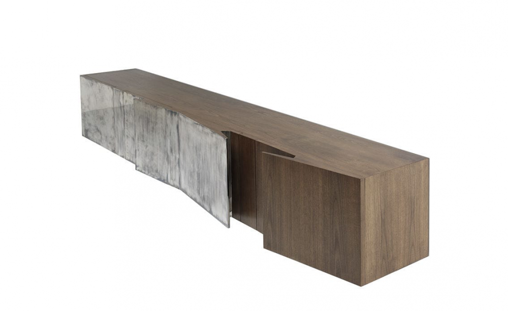 BLADE CREDENZA WHIT DOORS IN SILVER PLATED BRASS BY VINCENZO DE COTIIS