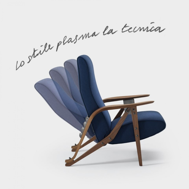 ARMCHAIR GILDA BY CARLO MOLLINO 1953.GILDA, AN EVOCATIVE NAME OF FEMININITY AND SENSUALITY.A RECLINING ARMCHAIR WITH FOUR POSITIONS, WHICH REPRESENTS MOLLINO'S ECLECTIC STYLE.THE FRONT LEGS ARE JOINED TO THE REAR ONES WITH A SINGLE PIECE OF SOLID WOOD WHERE THE WELCOMING ARMREST TAKES SHAPE, SIMILAR TO A LEAF, LARGE ENOUGH TO HOLD A BOOK OR A PAIR OF GLASSES.  THE SEAT AND BACKREST SEEK ERGONOMICS AND COMFORT.