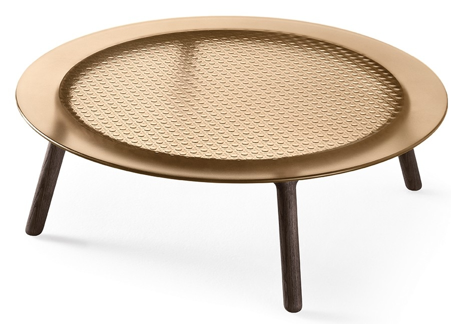 CANNAGE COFFEE TABLE WITH TOP IN FUSED GLASS BY EMMANUEL GALLINA