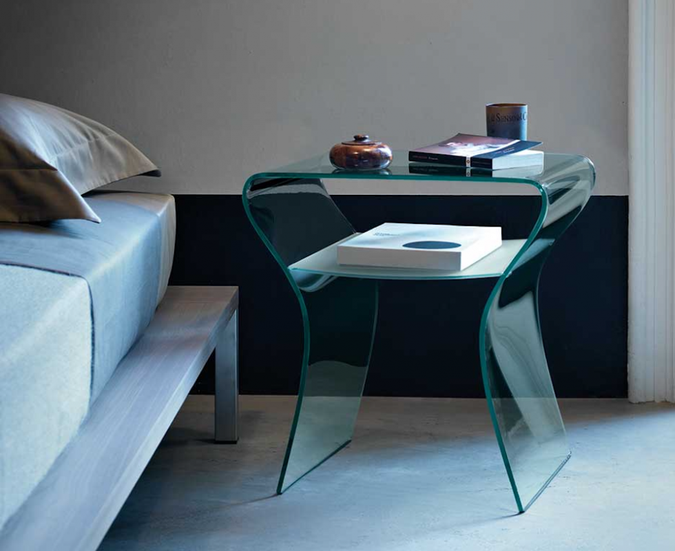 CHARLOTTE DE NUIT BEDSIDE TABLE IN CURVED GLASS BY PROSPERO RASULO