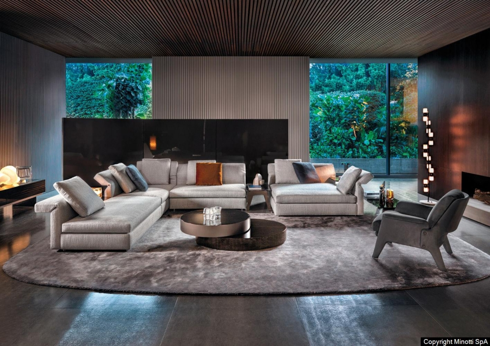 COLLAR seating system and ottoman by RODOLFO DORDONI