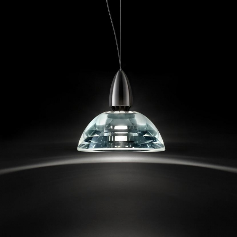 Suspension lamp GALILEO MINI LED by EMANUELE RICCI. GALILEO is the jewel of the Lumina collection. GALILEO's precious crystal shade is the outcome of an extremely precise process of glass making.  The refraction quality of the optical glass conveys the maximum possible brilliance of light through the entire shade. Available with LED source. This version of GALILEO is even more elegant and its light even purer than the earlier halogen series.