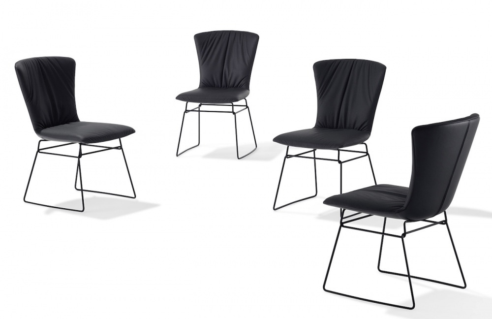 DEXTER ARMCHAIR WITH A BENT ROUND STEEL FRAME AND WITH DRAPERY 2057 BY GINO CAROLLO 2015