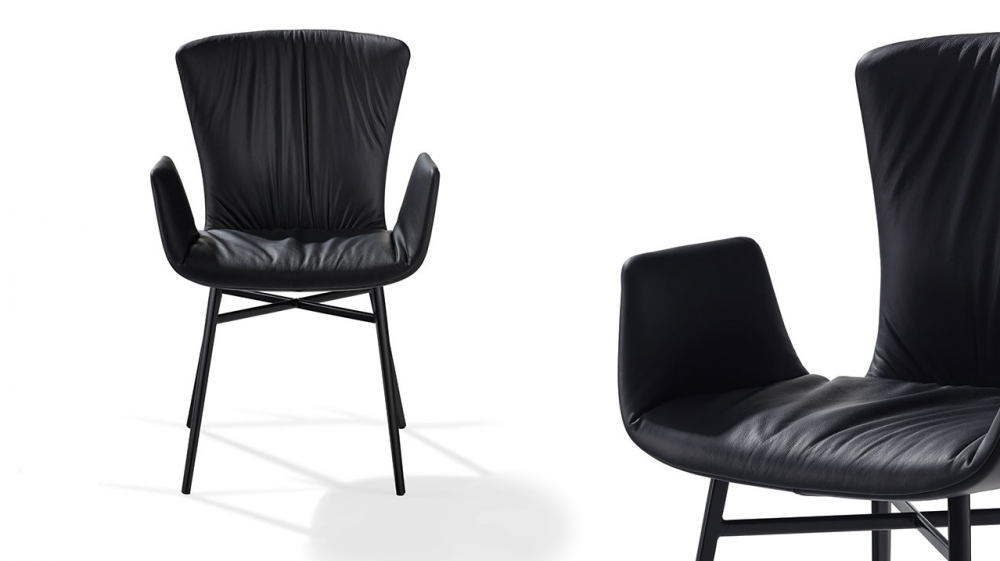DEXTER ARMCHAIR WITH A STURDY STEEL FRAME AND WITH DRAPERY 2058 BY GINO CAROLLO 2015