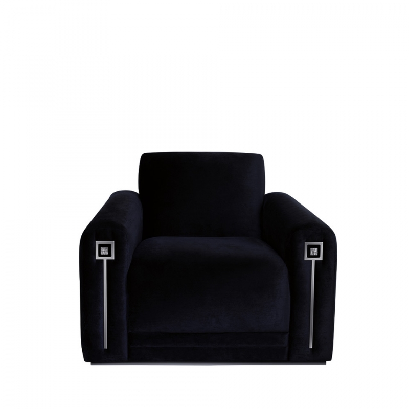 MASQUE DE FEMME CONTEMPORARY ARMCHAIR NUMBERED EDITION, CLEAR CRYSTAL AND BLACK SILK.