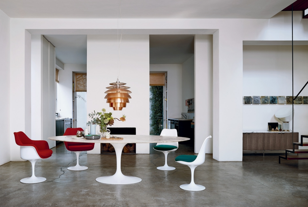 TULIP ARMLESS AND ARM CHAIRS BY EERO SAARINEN 1957