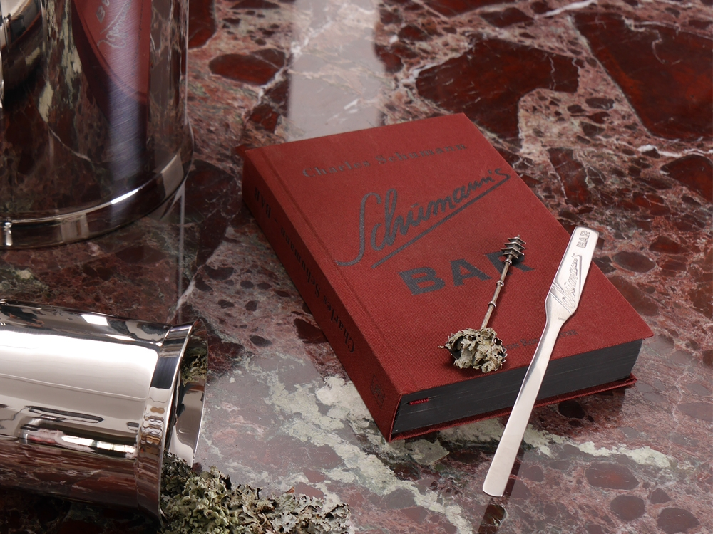STAINLESS STEEL COCTAIL STIRR AND BOOK AMERICAN BAR - DESIGNED BY CHARLES SCHUMANN