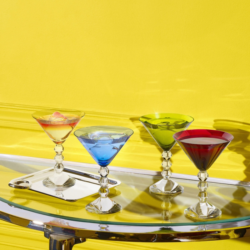 VÉGA martini glasses. The perfect glass set for the perfect dry martinis at home. Invite your friends and enjoy !    The geometric stem is eye-catching, a stack of three diabolo shaped Baccarat crystal pieces resembling exquisite beads strung together or Brancusi's geometric totems.Iconic lineage. Price €850.