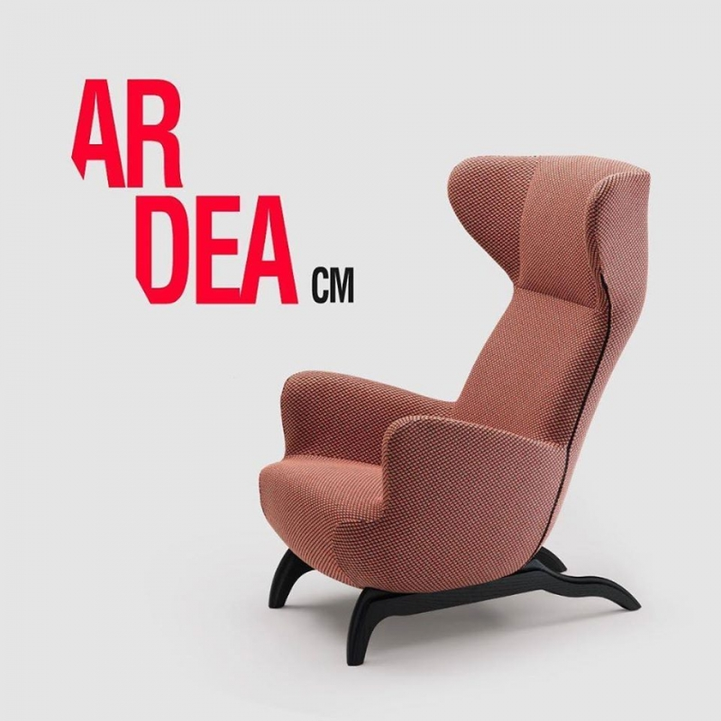 ARDEA ARMCHAIR BY CARLO MOLLINO 1946.ARDEA CM IS A BERGÈRE ARMCHAIR CREATED FOR CONVERSATION, A TRIBUTE TO THE ONE DESIGNED BY MOLLINO IN 1946 FOR MINOLA HOUSE. THE BACKREST IS FOLDED INWARDS, SO AS TO CREATE A HEADREST WITH