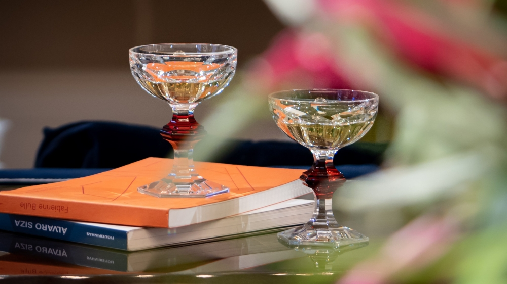 The star of glasses and the glass of the stars, the HARCOURT champagne coupe embodies   Baccarat 's know-how and glamorous art of living.Price  €225.