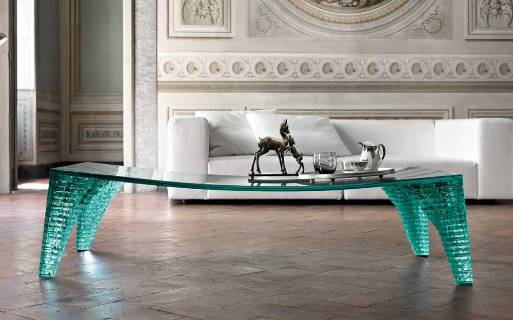 ATLAS COFFEE TABLE WITH HAND SCULPTURED GLASS LEGS BY DANNY LANE