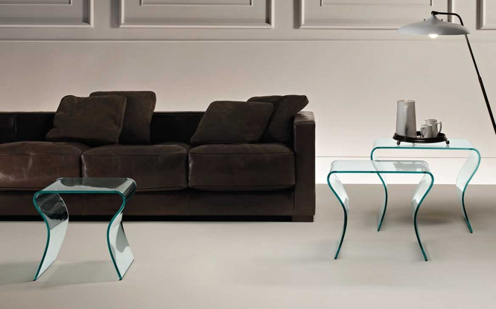 CHARLOTTE TRIS SET OF COFFEE TABLE IN CURVED GLASS BY PROSPERO RASULO