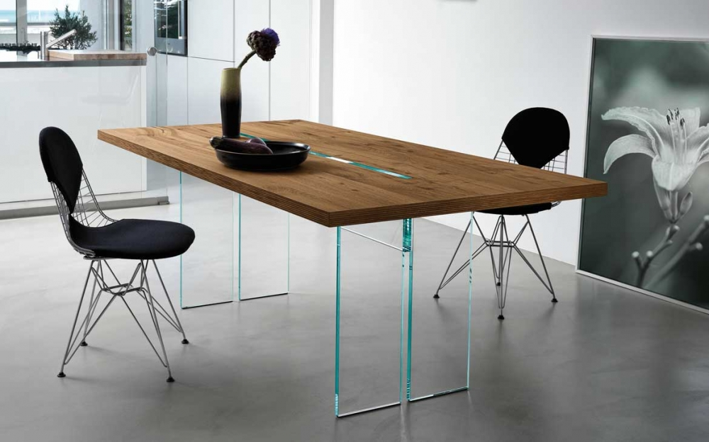 LLT WOOD TABLE IN GLASS AND WOOD BY DANTE O. BENINI E LUCA GONZO