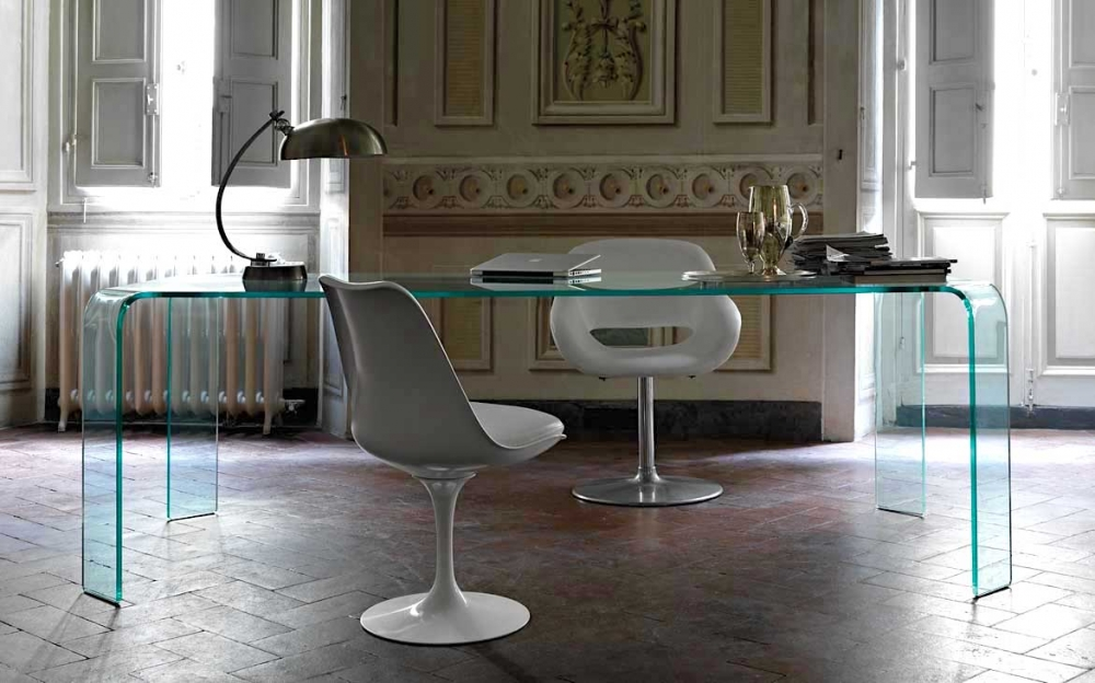 RAGNO TABLE IN CURVED GLASS BY VITTORIO LIVI
