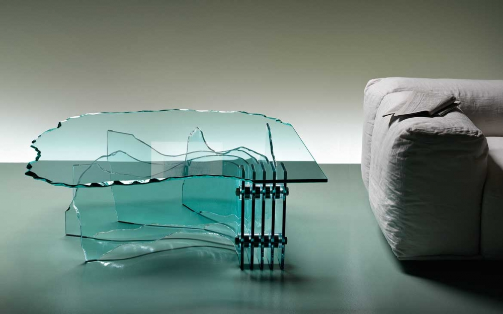 SHELL HANDSCULPTURED COFFEE TABLE IN CURVED GLASS BY DANNY LANE