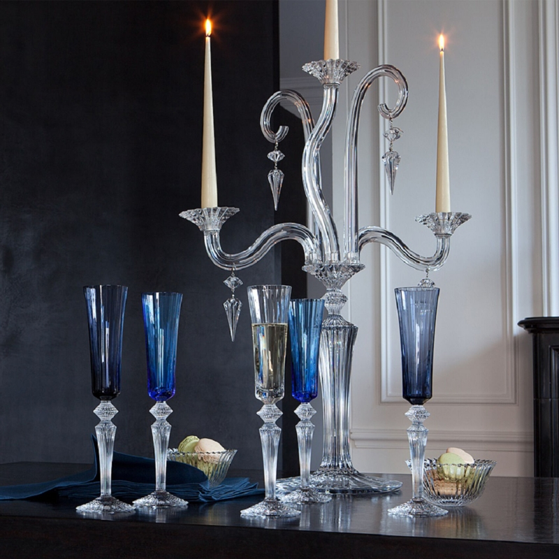 Crystal champagne glasses, bowls and candelabra MILLE NUITS by MATHIAS