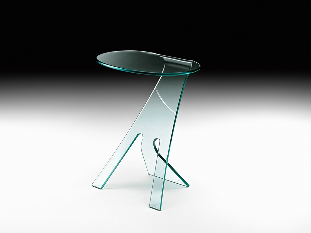 GRILLO SIDE TABLE IN CURVED GLASS BY VITTORIO LIVI