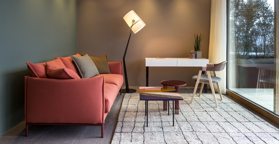 MATHILDA CHAIR, GENTRY SOFA AND FISHBONE LOW TABLE BY PATRICIA URQUIOLA; NET LOW TABLE BY BENJAMIN HUBERT - HOTEL MUCHELE MERANO, ITALY, 2015  INTERIORS: MOROSO CREATIVE TEAM WITH ARCHITEKTEN STEPHAN MARX ELKE LADURNER ARCHITECTURE: ARCHITEKTEN STEPHAN MARX ELKE LADURNER