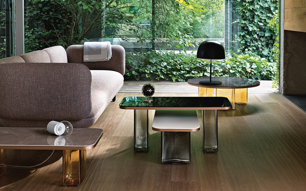LANDS COLLECTION OF COFFEE TABLES IN BLOWN GLASS AND STONEWARE BY STUDIO KLASS