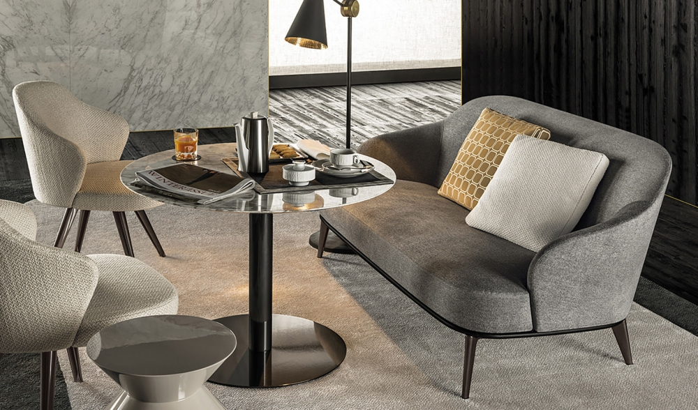 LESLIE SWIVEL and FIXED LOUNGE CHAIR by RODOLFO DORDONI