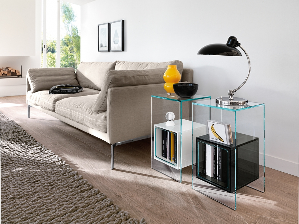 MAGIQUE SIDE TABLE IN GLASS WITH COMPARTMENT BY STUDIO KLASS
