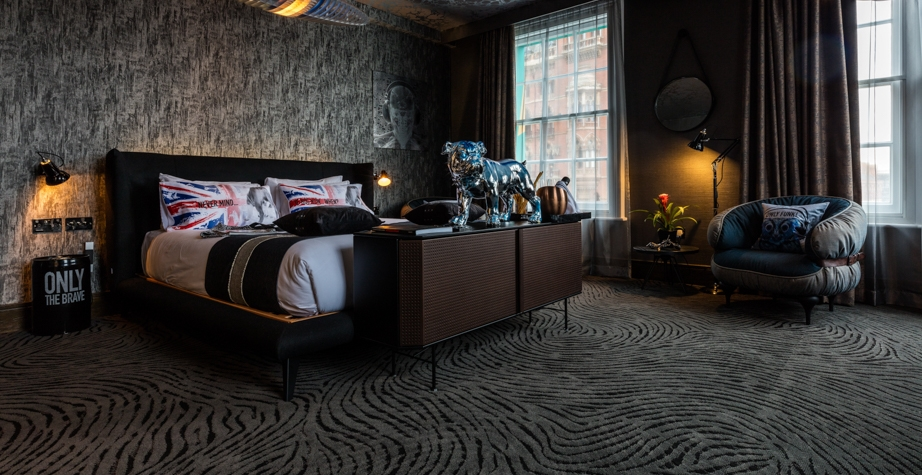 PERF CABINET, CHUBBY CHIC ARMCHAIR AND GIMME SHELTER BED BY DIESEL CREATIVE TEAM - MEGARO HOTEL LONDON, UK, 2018  DESIGNER: BLU SKY HOSPITALITY PHOTO CREDIT: MEGARO HOTEL