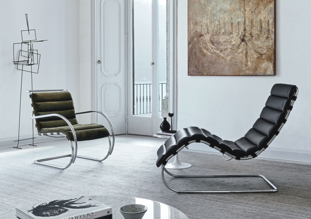 MR LOUNGE CHAIR and CHAISE by LUDWIG MIES VAN DER ROHE CA., designed in 1927. Lean back with its tubular steel frame and ergonomic sensibility, the MR SERIES are exemplary of MIES VAN DER ROHE's unwavering belief in design that marries form and function.