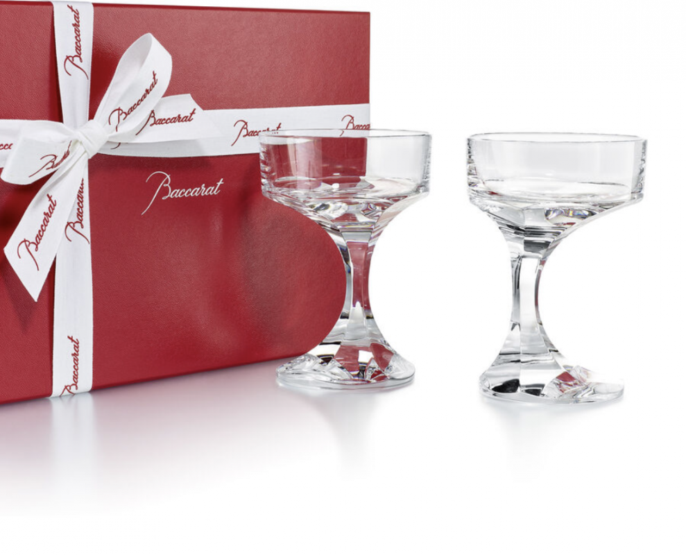 NARCISSE champagne coupe. A sculptor and furniture designer, BORIS TABACOFF imagined the NARCISSE set back in 1971. In gift-set of two champagne coupes, the NARCISSE glasses add a sublime touch to the most original dinner table with its timeless design. Price €380