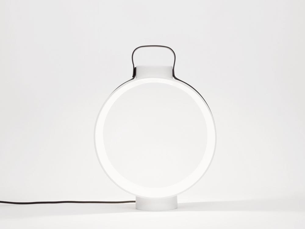 Porcelain lantern with leather belt NIGHTINGALE - designer CHIRSTOPHE DE LA FONTAINE