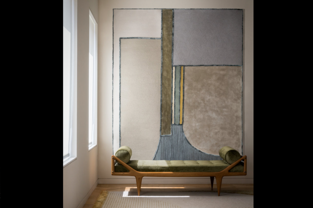 MONOLITH I RUG OF 44% FELTED WOOL, 23% DULL SILK, 17% SILK, 9% WOOL AND 7% DELICATE SILK BY EDWARD FIELDS