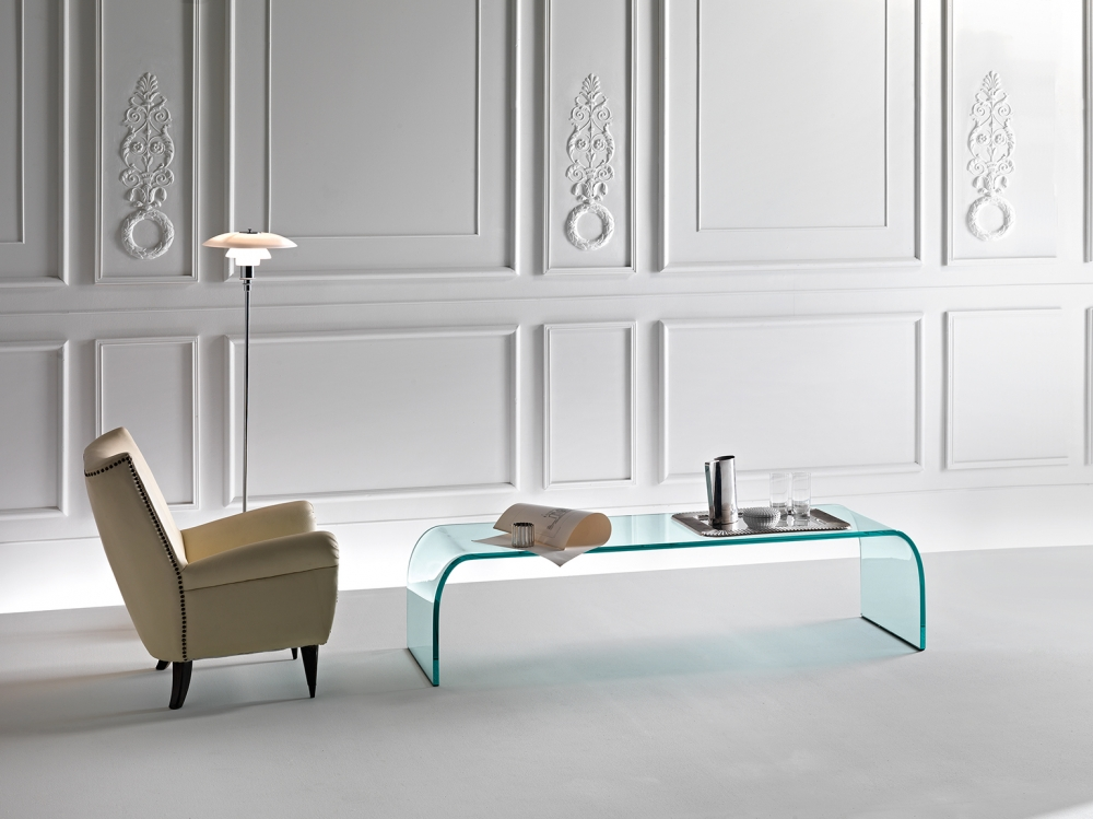PONTE COFFEE TABLE IN CURVED GLASS BY ANGELO CORTESI