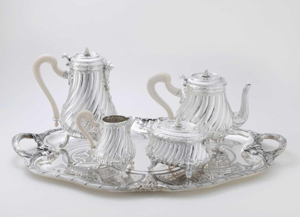STERLING SILVER TEA AND COFFEE SERVING SET LOUIS XV